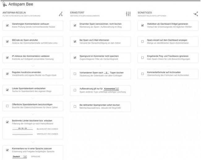 Bild zeigt die umfangreichen Einstellungen vom WordPress Plugin Antispam Bee