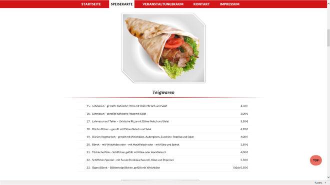 Gastronomie Internetseite